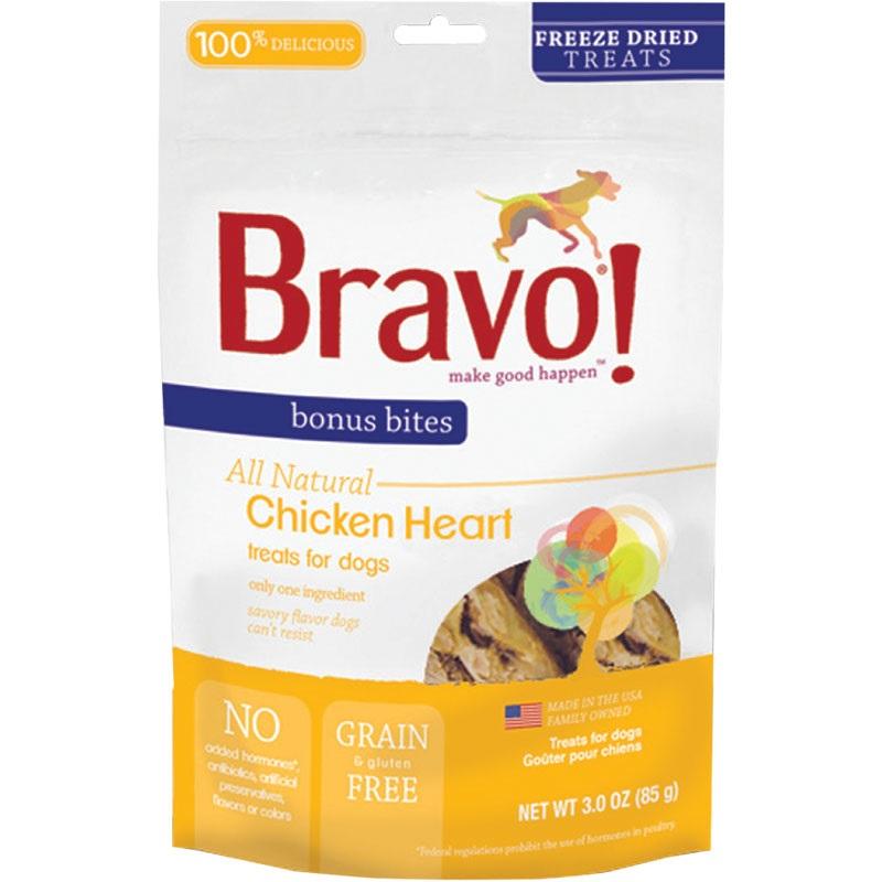 Bravo! Bonues Bites Chicken Hearts Freeze-Dried Dog Treats, 3-oz