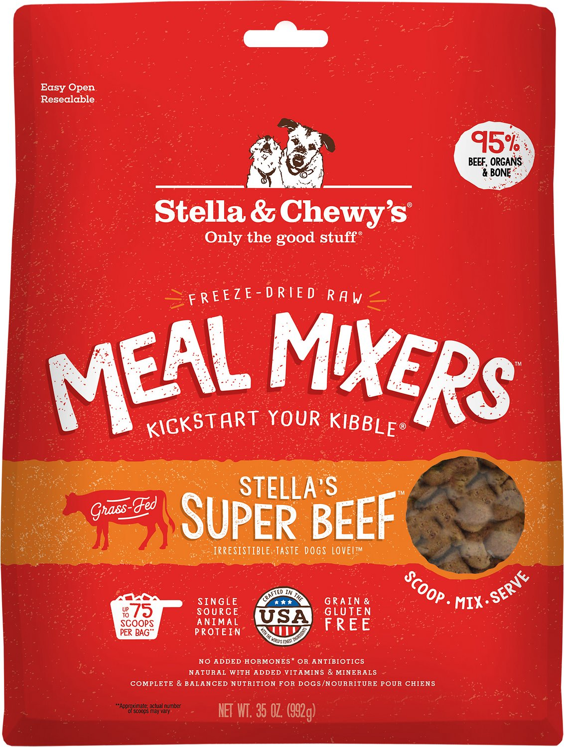 Stella & Chewy's Stella's Super Beef Meal Mixers Grain-Free Freeze-Dried Dog Food, 35-oz
