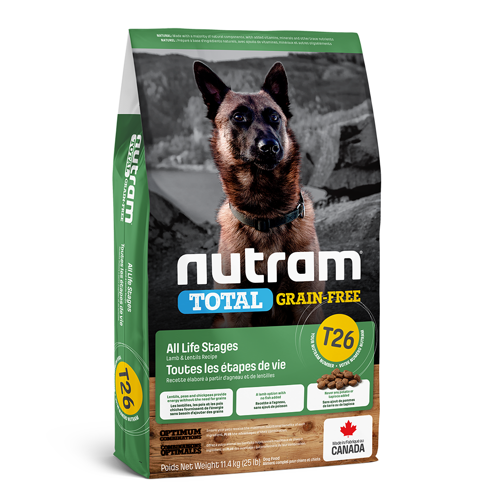Nutram Total T26 Grain-Free Lamb & Lentils Dog Food, 11.4-kg
