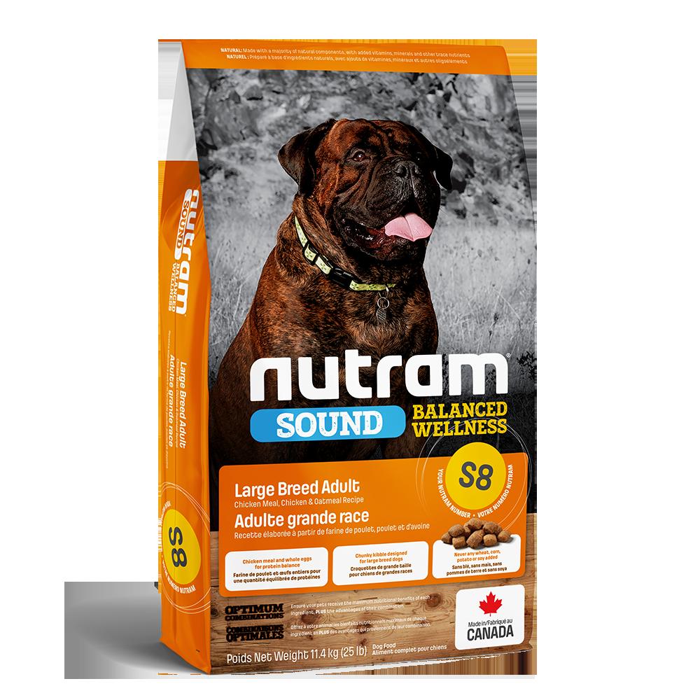 Nutram Sound S8 Balanced Wellness Large Breed Adult Dog Food, 11.4-kg