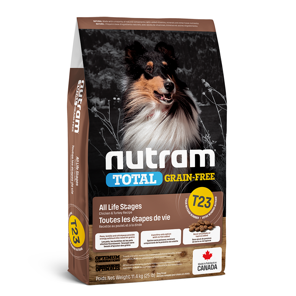 Nutram Total T23 Chicken & Turkey Grain-Free All Life Stages Dry Dog Food, 11.4-kg
