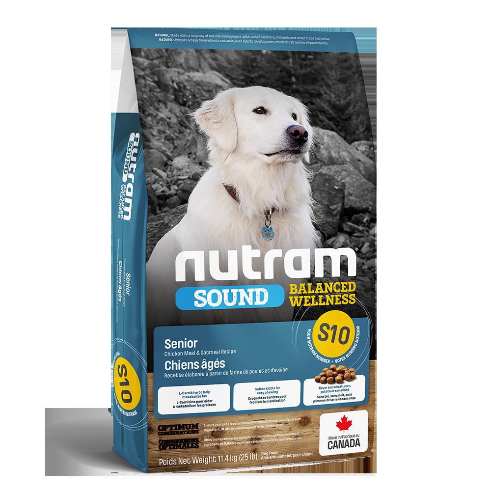 Nutram Sound S10 Balanced Wellness Chicken & Oatmeal Senior Dry Dog Food, 11.4-kg