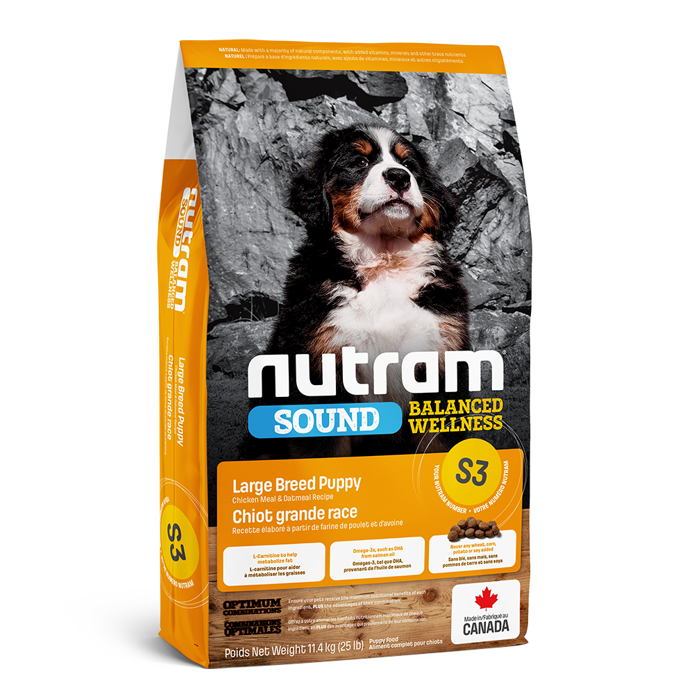 Nutram Sound S3 Balanced Wellness Chicken & Oatmeal Puppy Large Breed Dry Dog Food, 11.4-kg