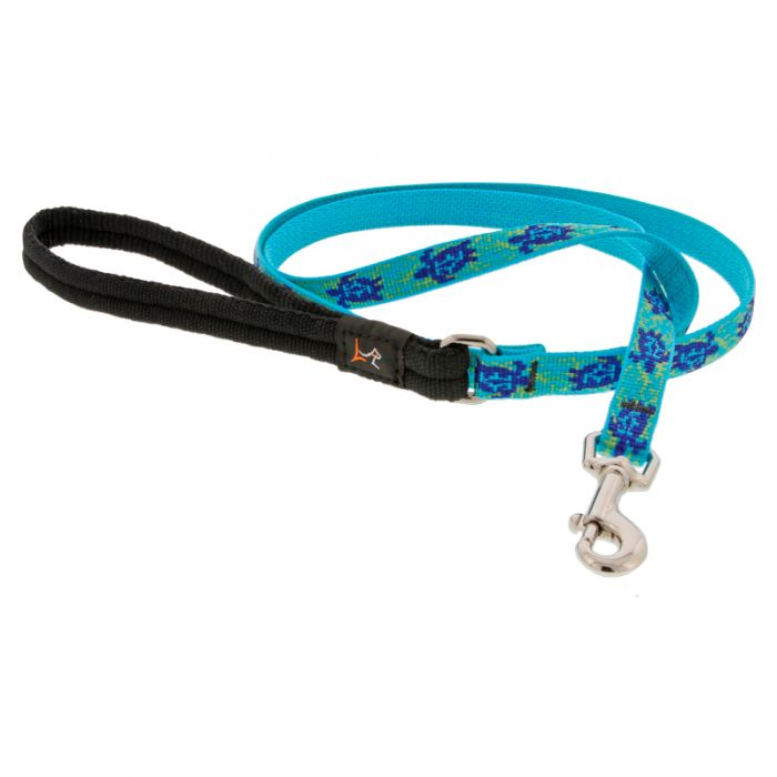 Lupine Pet Original Designs Padded Handle Dog Leash, Turtle Reef, 1/2-in x 6-ft