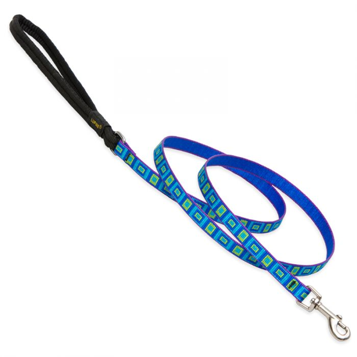 Lupine Pet Original Designs Padded Handle Dog Leash, Sea Glass, 1/2-in x 6-ft