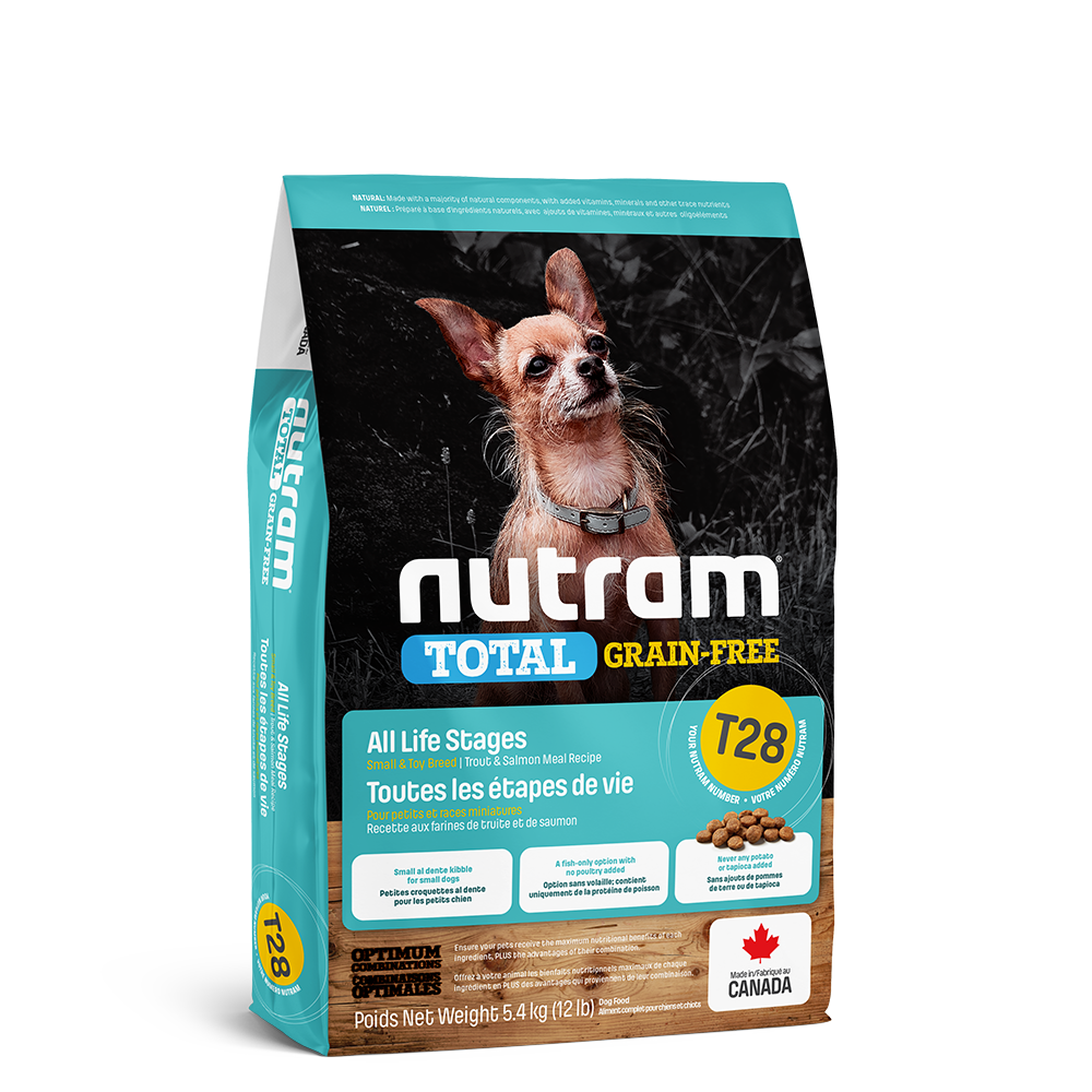 Nutram Total T28 Trout & Salmon Grain-Free All Life Stages Dry Dog Food, 5.4-kg