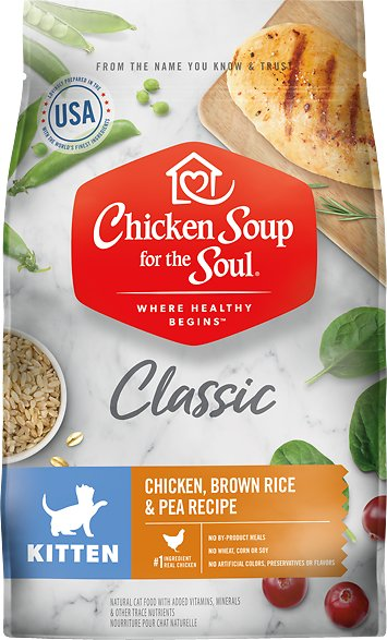 Chicken Soup for the Soul Kitten Chicken Brown Rice & Pea Recipe Dry Cat Food, 13.5-lb