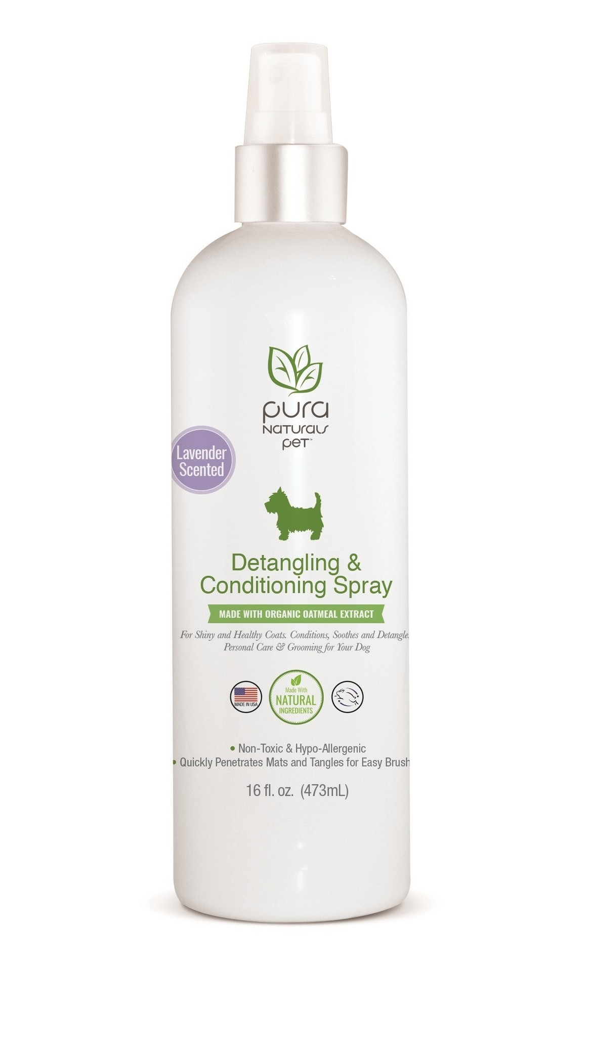 Pura Naturals Detangling & Conditioning Spray for Dogs, 16-oz