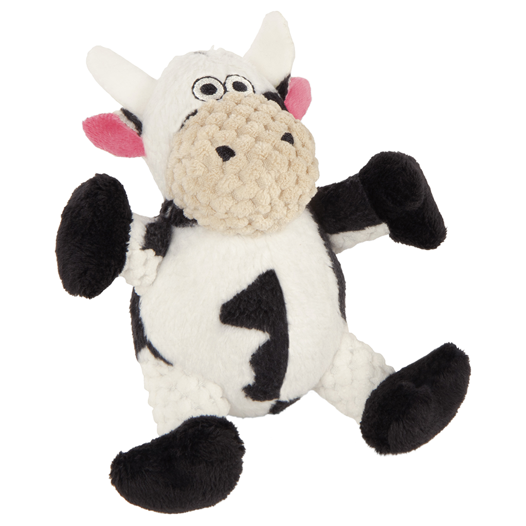 GoDog Checkers Sitting Chew Guard Cow Dog Toy, Small