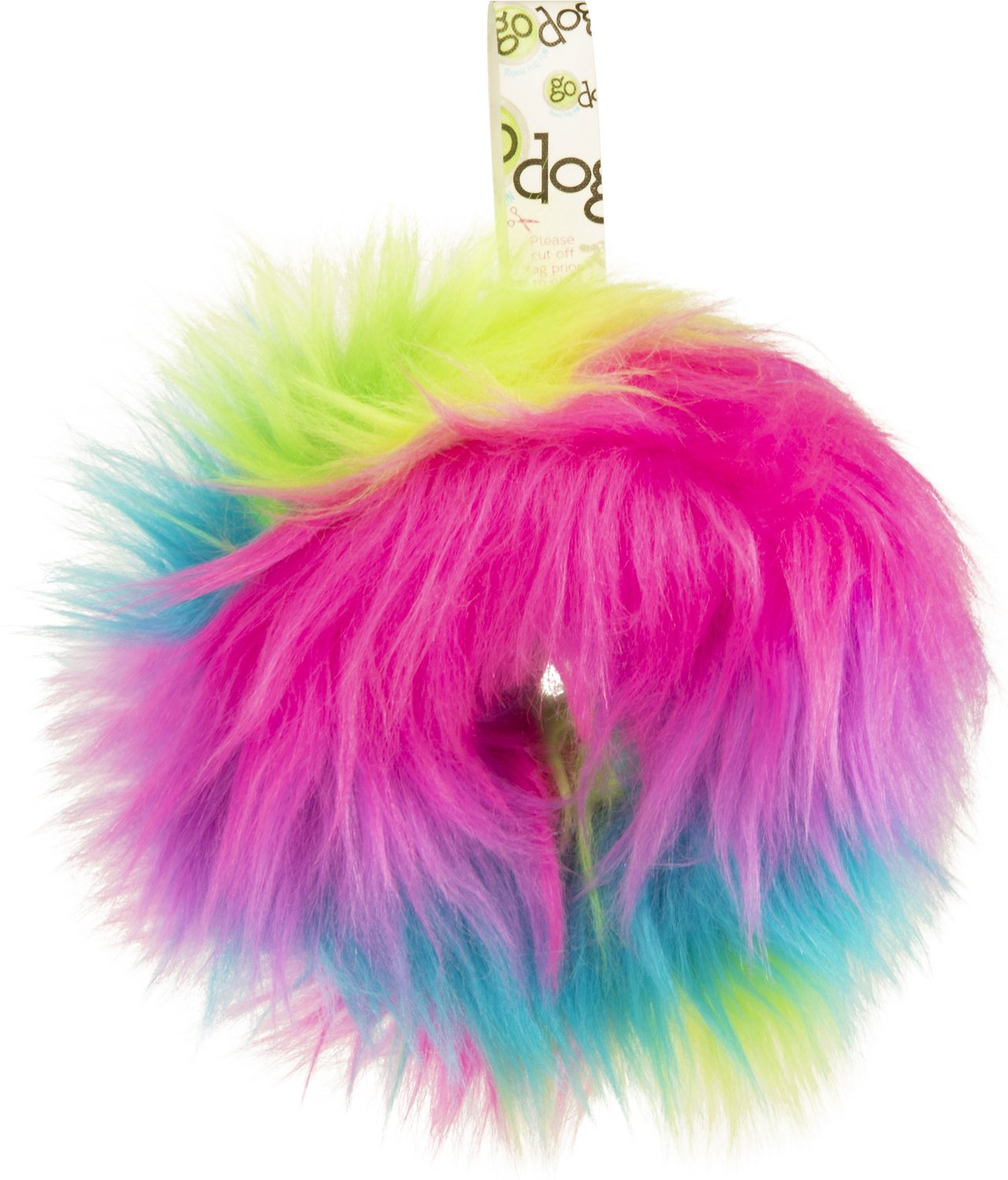 GoDog Furballz Rings Chew Guard Dog Toy, Rainbow, Medium