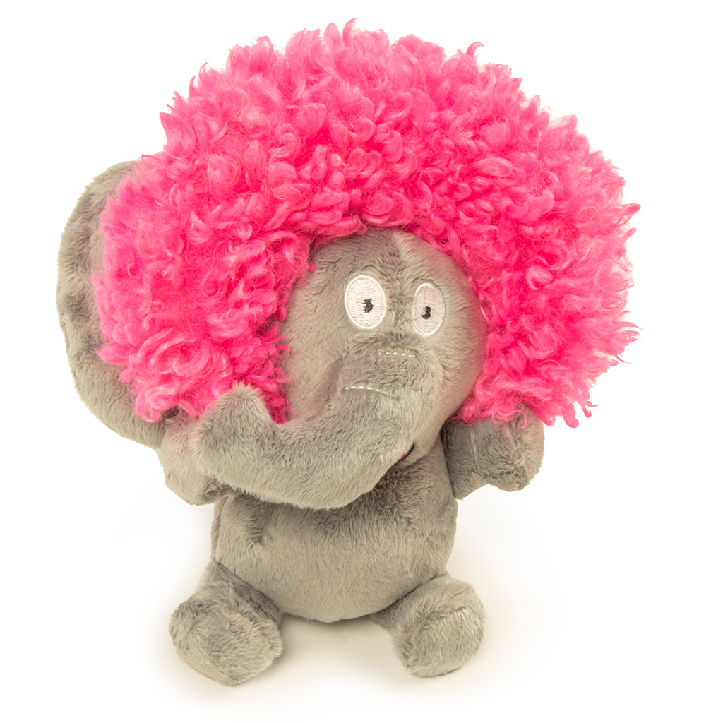 GoDog Silent Squeak Crazy Hair Elephant Dog Toy, Small