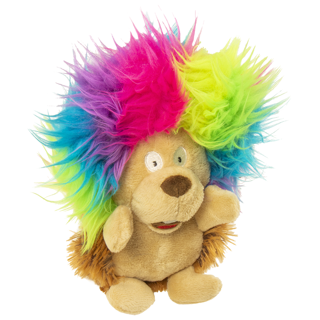 GoDog Silent Squeak Crazy Hair Hedgehog Dog Toy, Small
