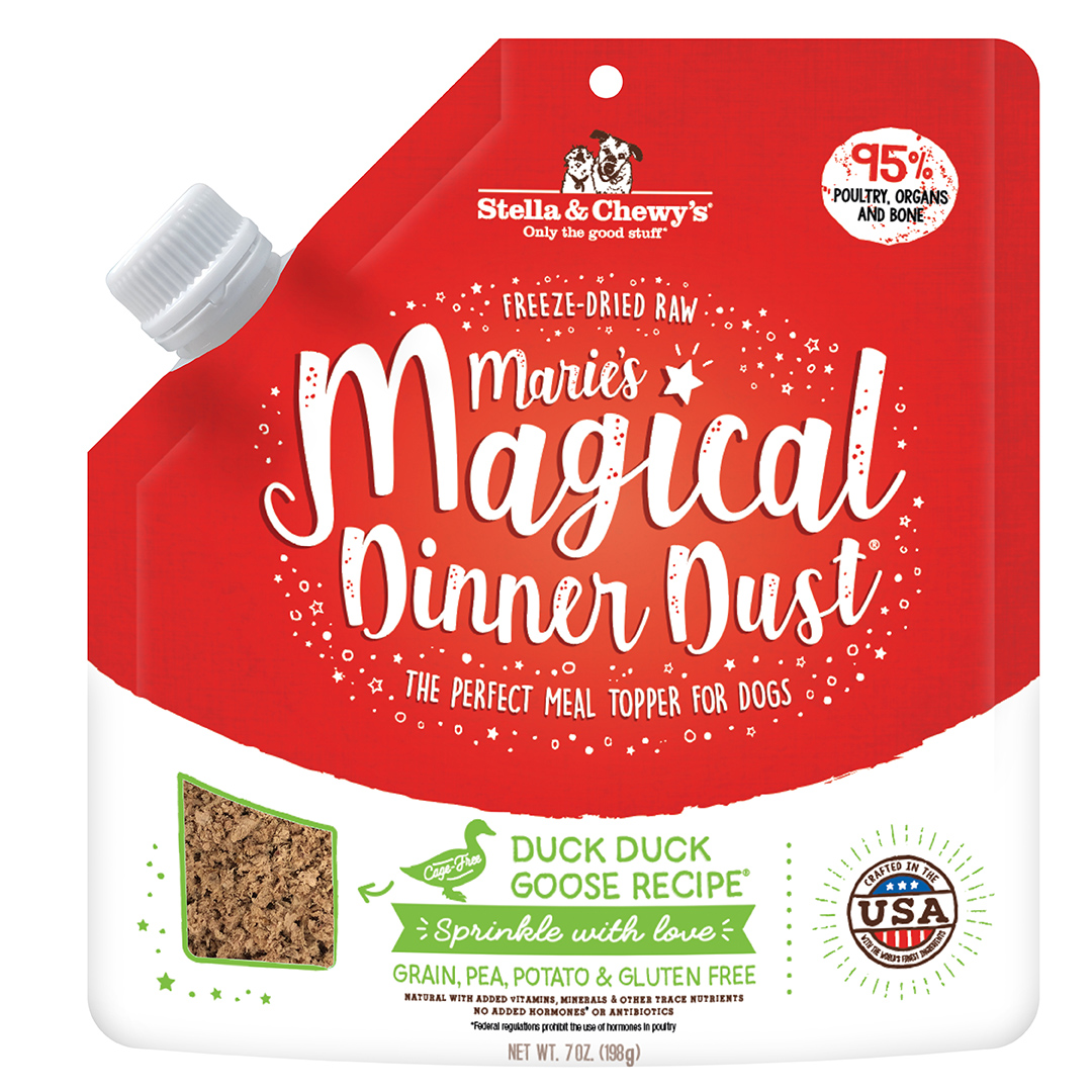Stella & Chewy's Marie's Magical Dinner Dust Duck Duck Goose Freeze-Dried Dog Food Topper, 7-oz