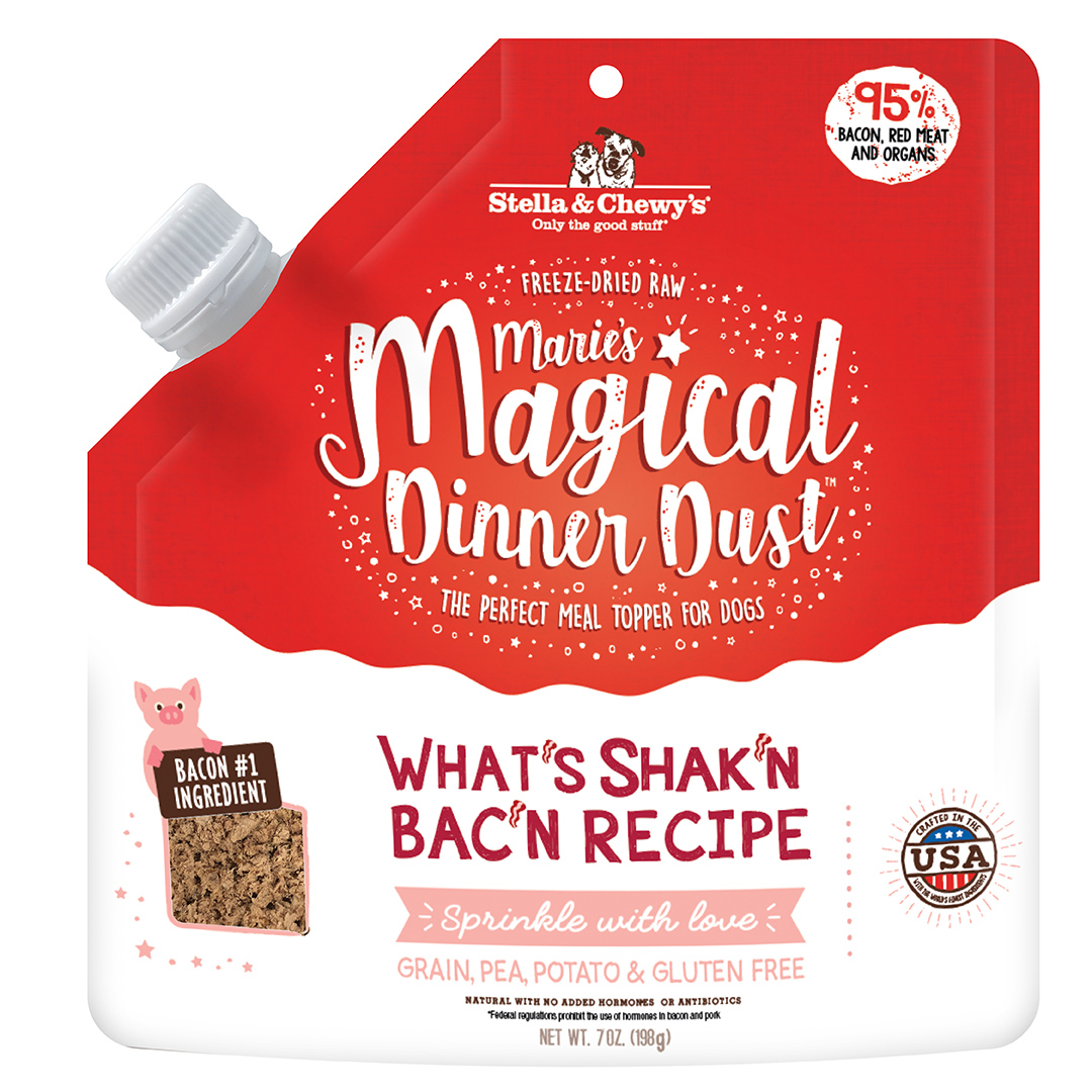Stella & Chewy's Marie's Magical Dinner Dust What's Shak'n Bac'n Freeze-Dried Dog Food Topper, 7-oz