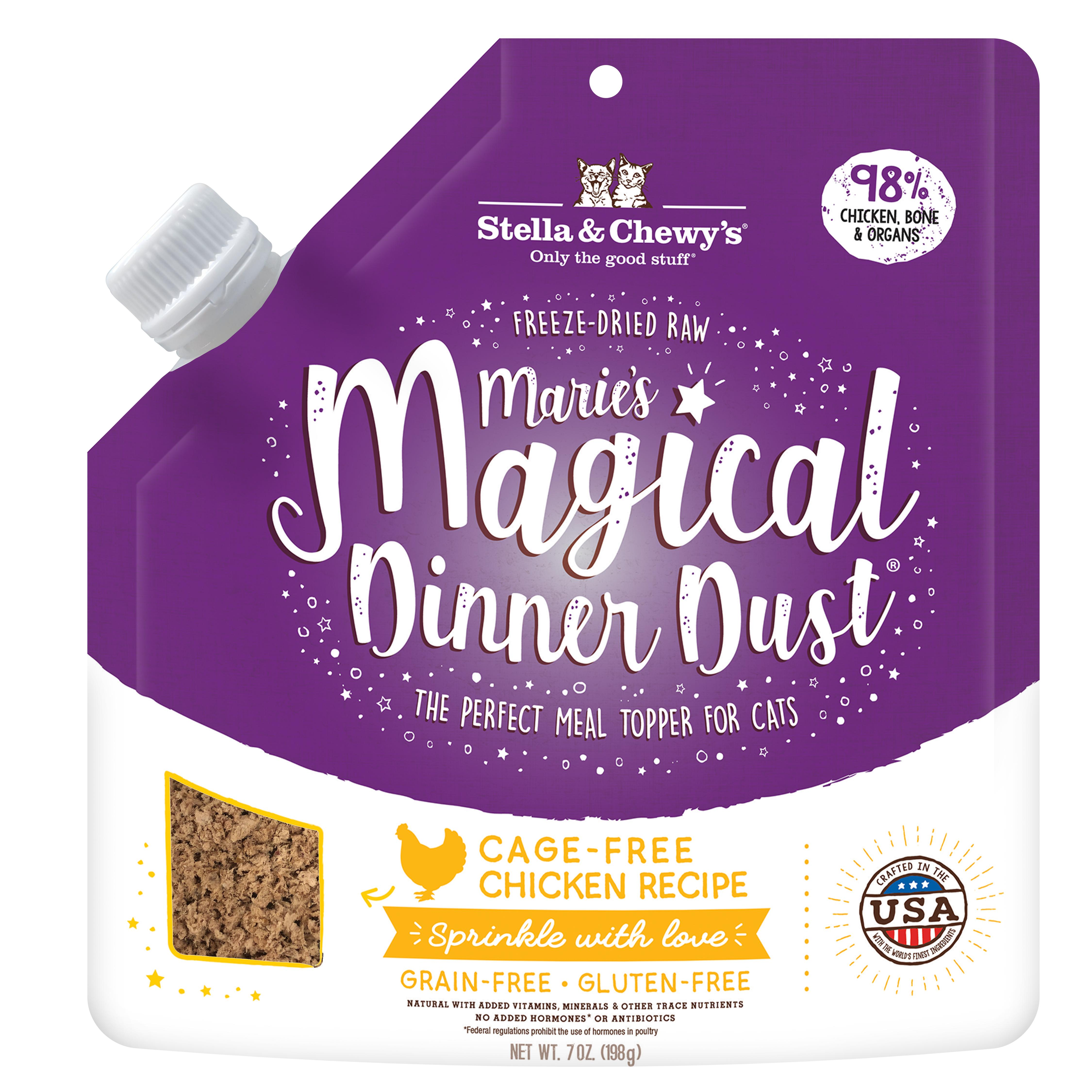 Stella & Chewy's Marie's Magical Dinner Dust Cage-Free Chicken Freeze-Dried Cat Food Topper, 7-oz
