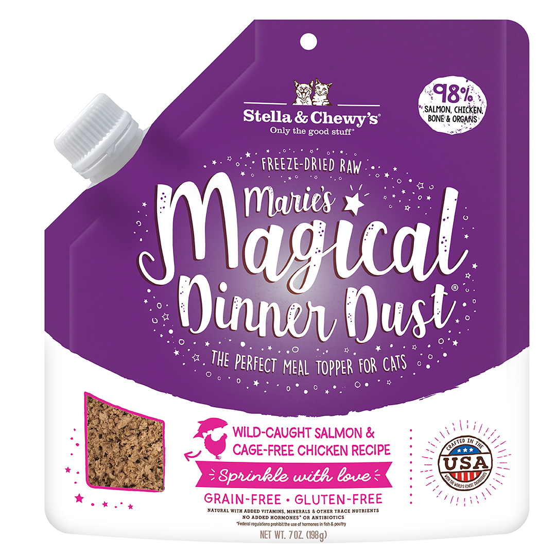 Stella & Chewy's Marie's Magical Dinner Dust Salmon & Chicken Freeze-Dried Cat Food Topper, 7-oz
