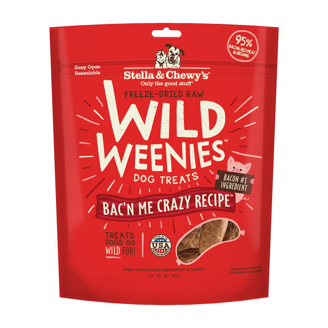 Stella & Chewy's Wild Weenies Bac'n Me Crazy Freeze-Dried Dog Treats, 3-oz