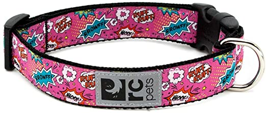 RC Pet Products Clip Dog Collar, Pink Comic Sounds, X-Small
