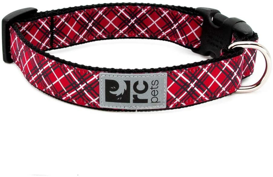 RC Pet Products Clip Dog Collar, Red Tartan, Large