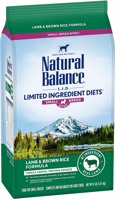 Natural Balance L.I.D. Limited Ingredient Diets Lamb Meal & Brown Rice Formula Small Breed Bites Dry Dog Food, 4-lb bag