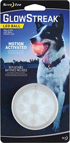 Nite Ize GlowStreak LED Ball Dog Toy, Red