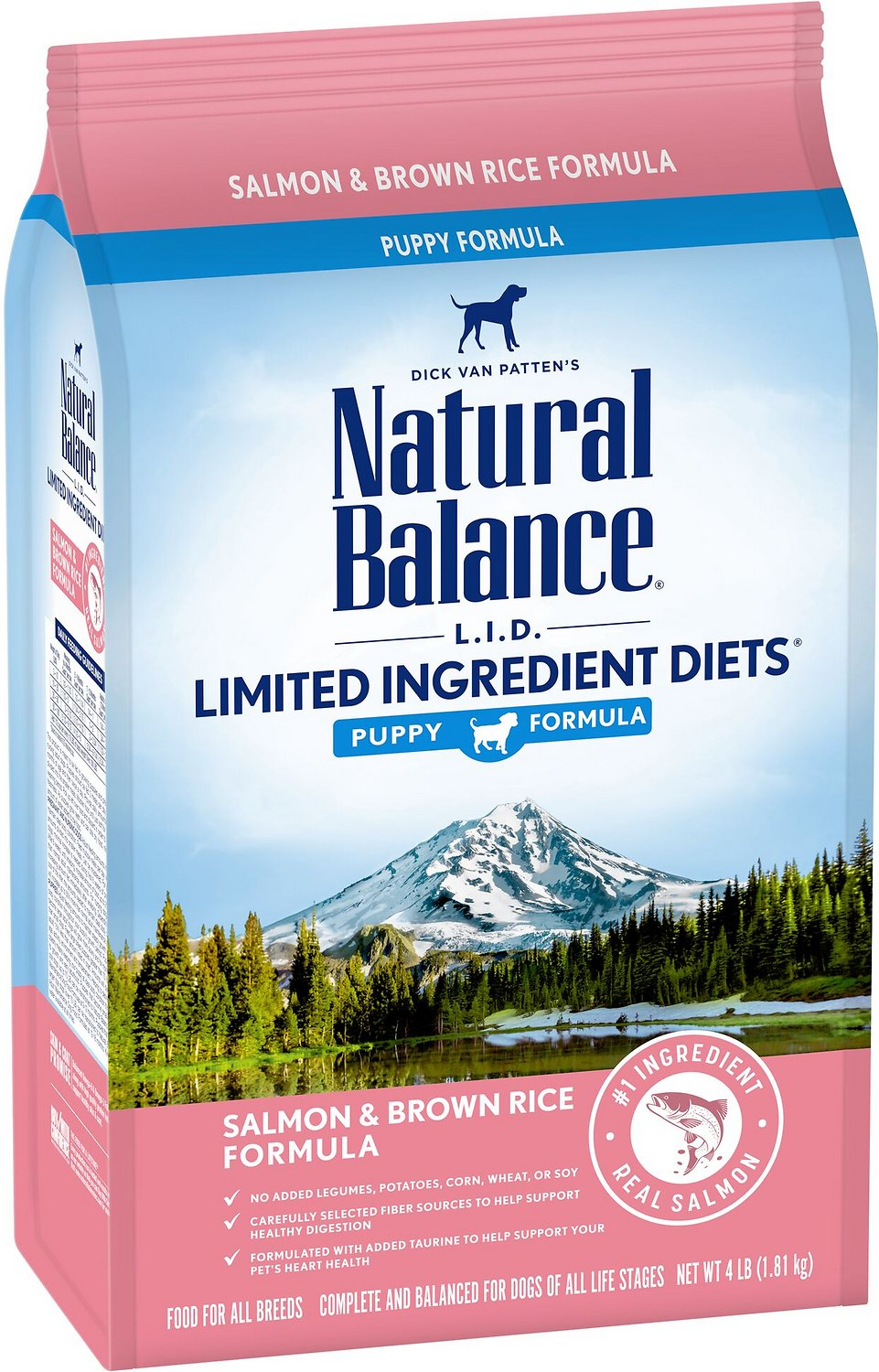 Natural Balance L.I.D. Limited Ingredient Diets Salmon & Brown Rice Puppy Dry Dog Food, 4-lb