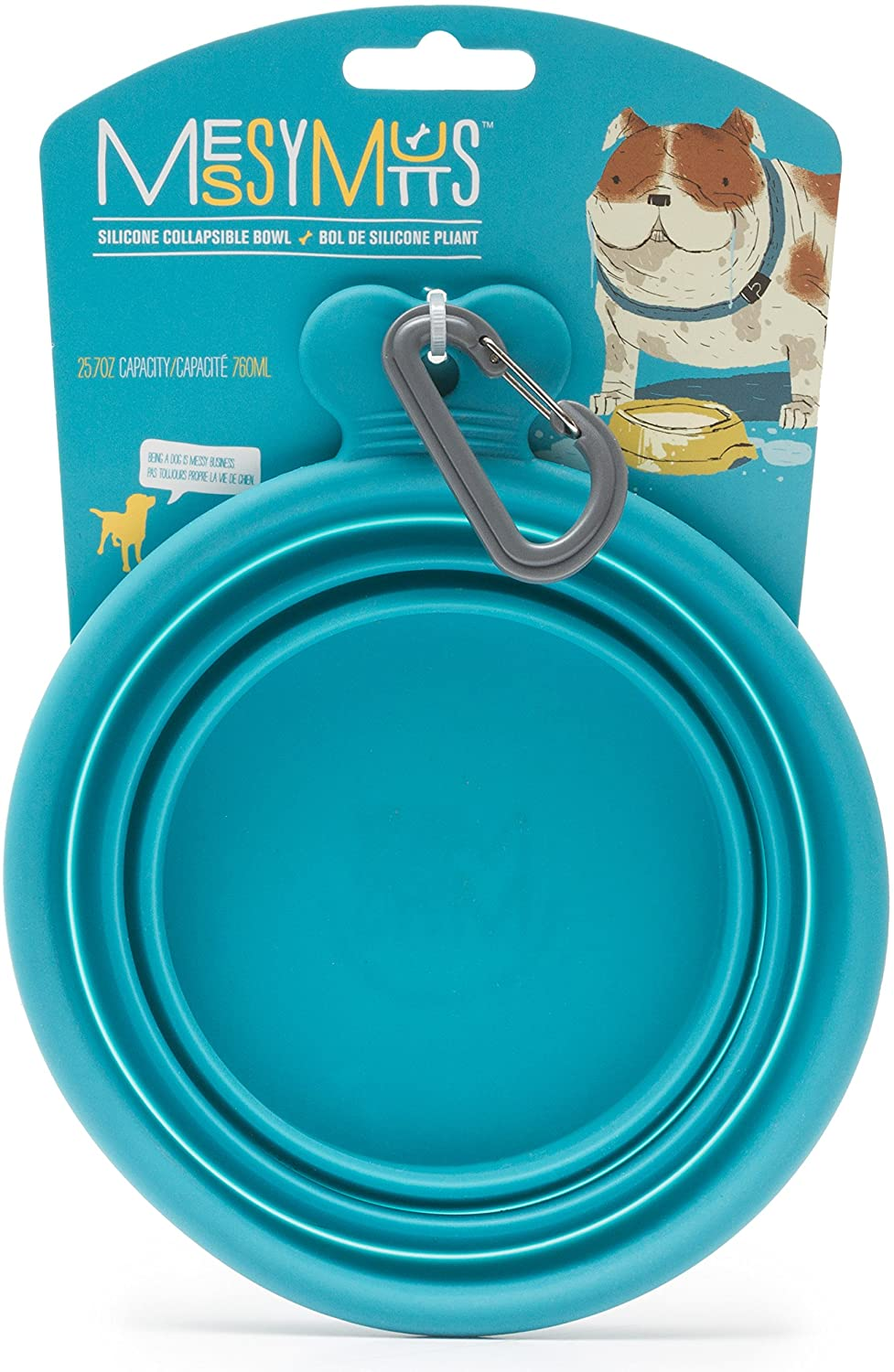 Messy Mutts Silicone Collapsible Dog Bowl, Blue, Small