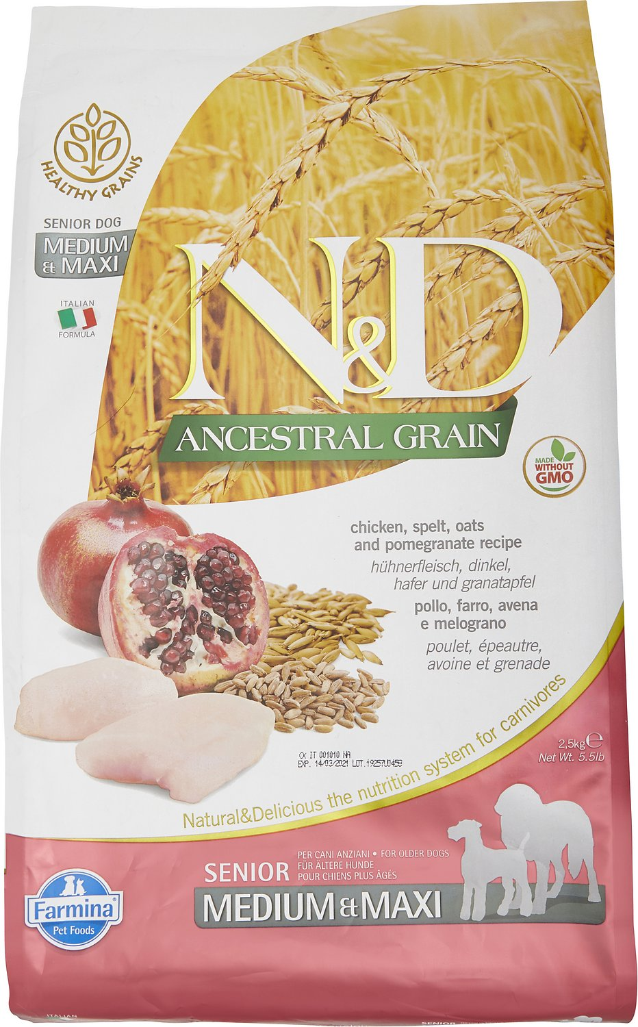 Farmina N&D Ancestral Grain Chicken & Pomegranate Medium & Maxi Senior Dry Dog Food, 26.4-lb