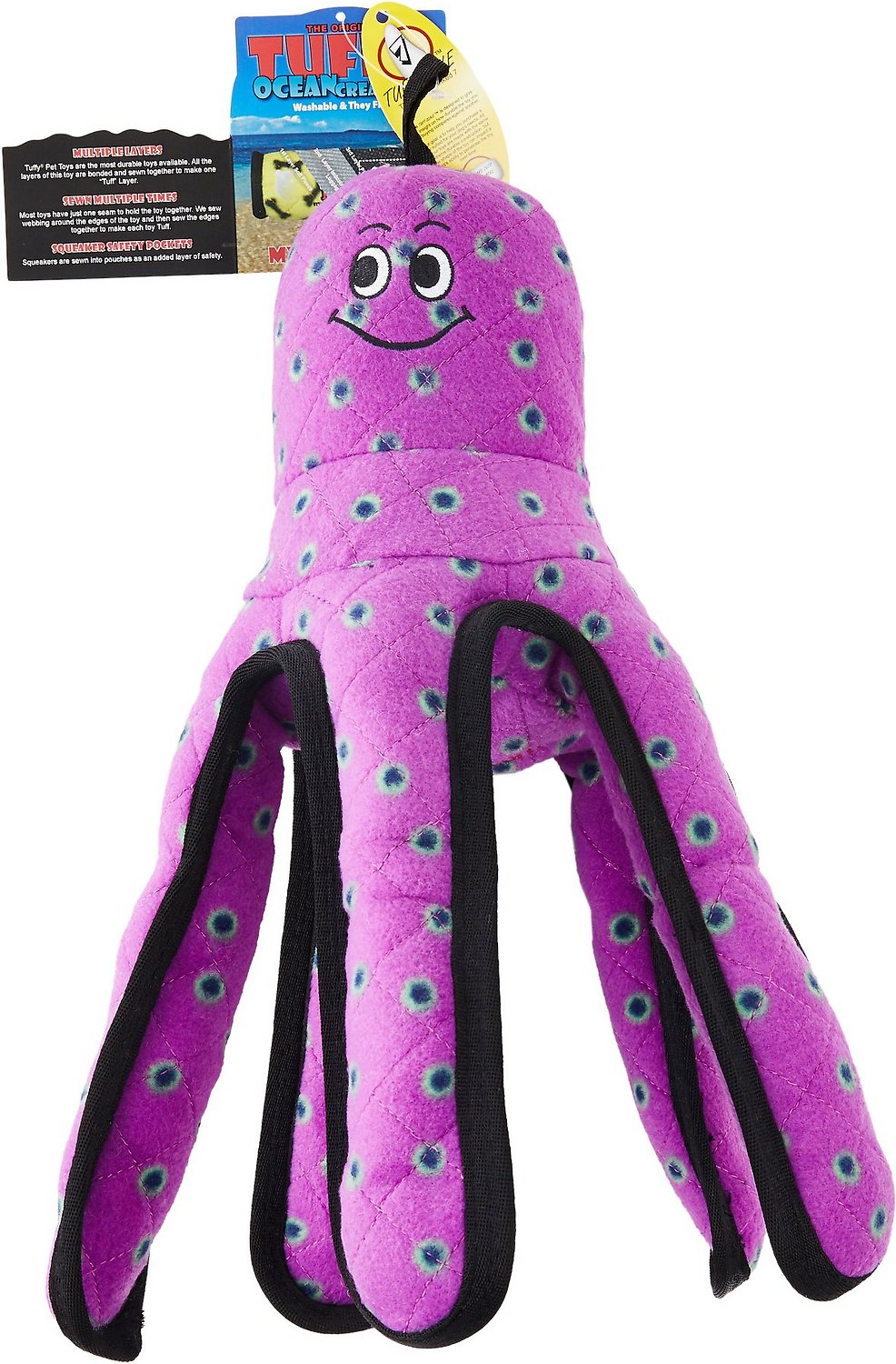 Tuffy's Ocean Creatures Purple Pete Octopus Dog Toy, Large