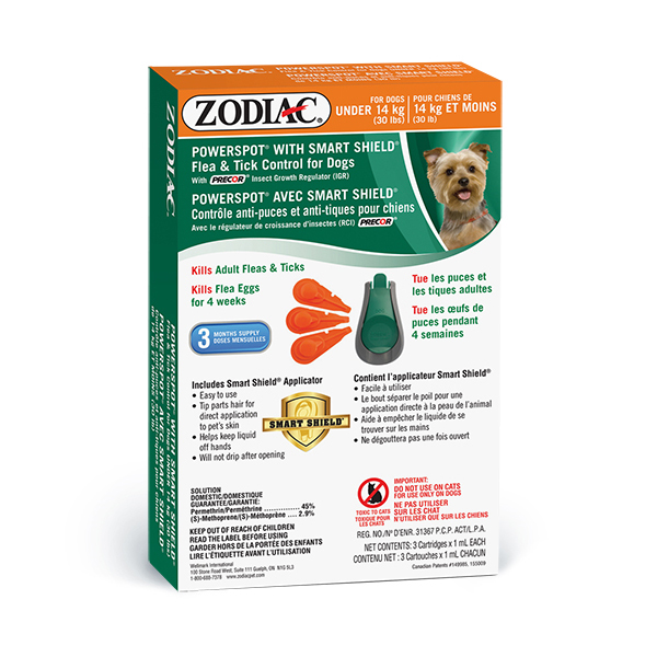 Zodiac Powerspot Smart Shield & Tick Control for Dogs Under 14-kg (Size: Under 14-kg) Image