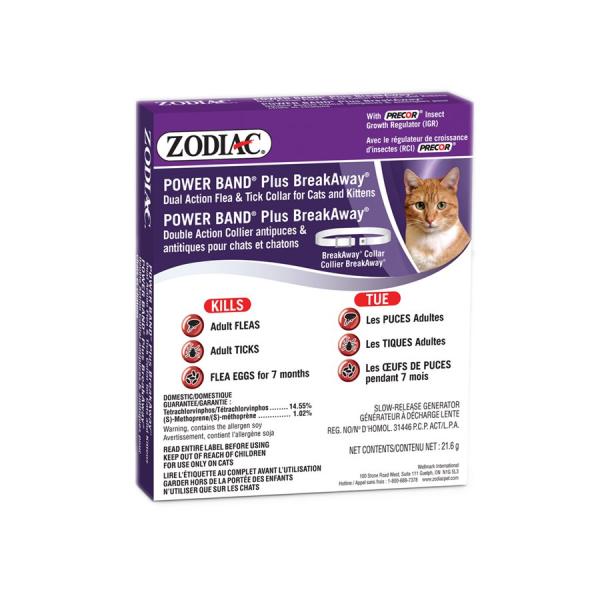 Zodiac Power Band Plus BreakAway Dual Action Flea & Tick Collar for Cats