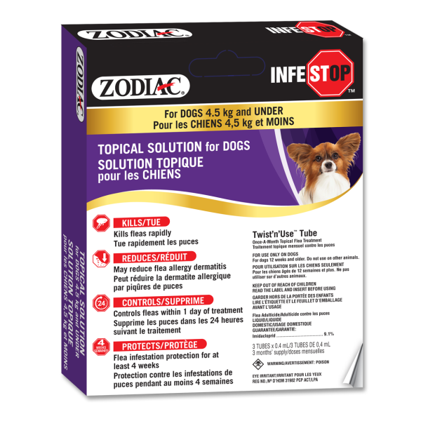 Zodiac Infestop Flea Topical Solution for Dogs, Under 4.5-kg