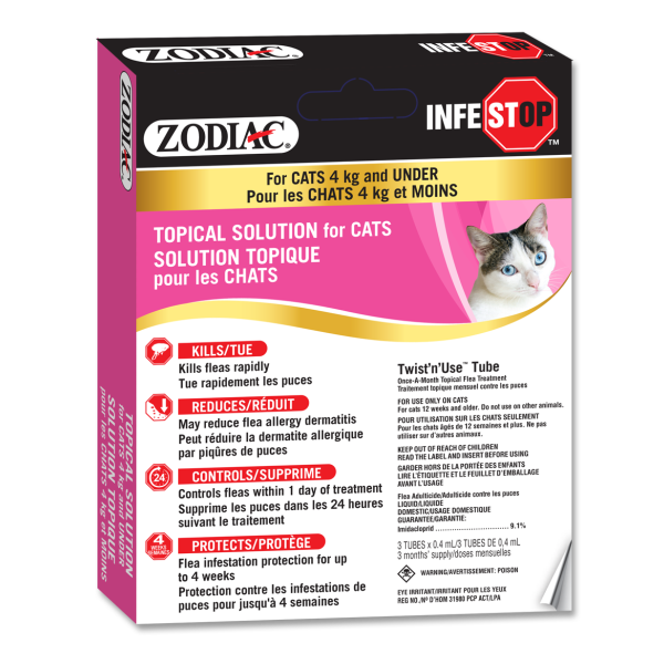 Zodiac Infestop Flea Topical Solution for Cats, Under 4-kg