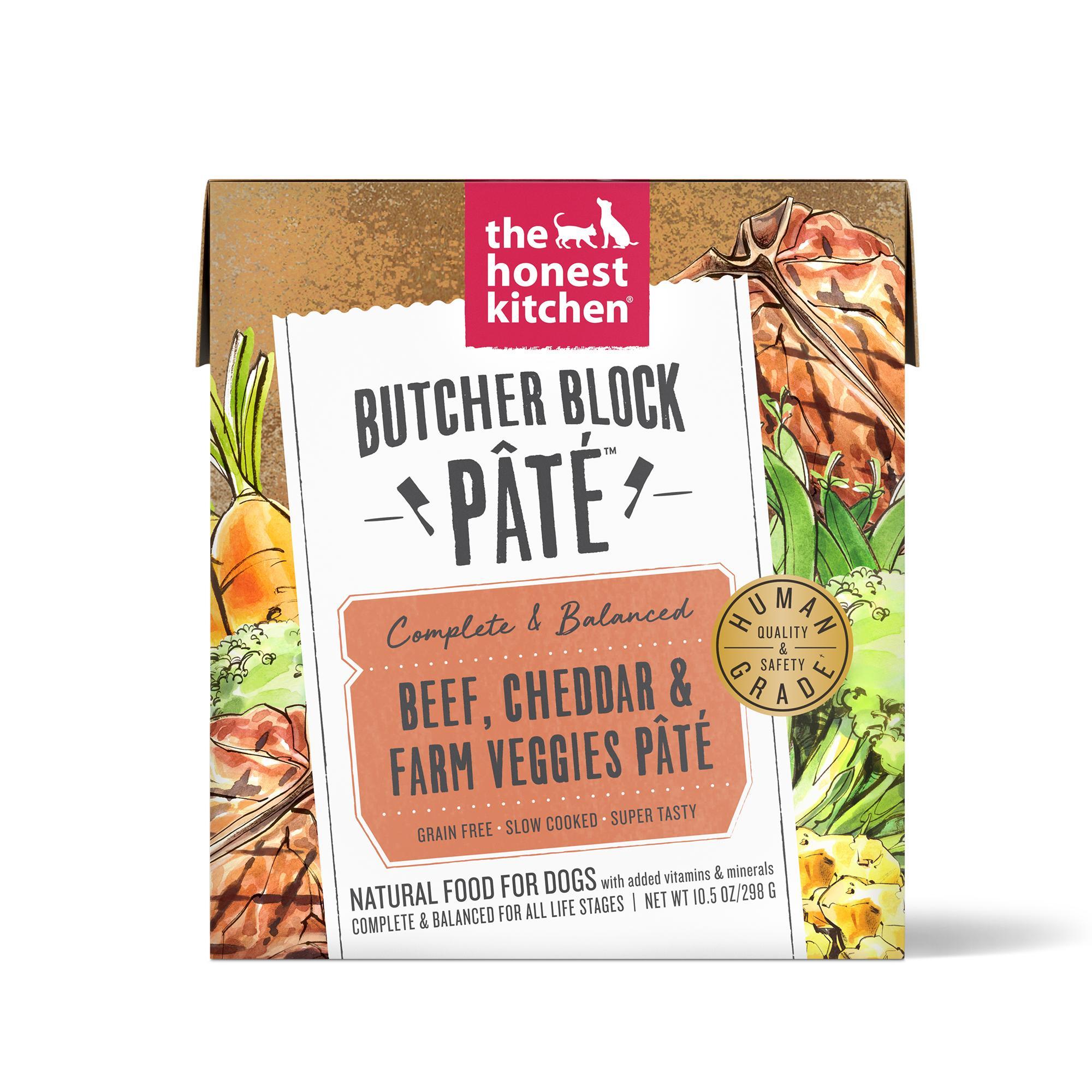 The Honest Kitchen Butcher Block Pate Beef, Cheddar & Farm Veggies Wet Dog Food, 10.5-oz