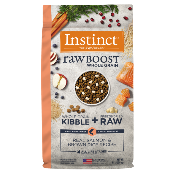 Instinct by Nature's Variety Raw Boost Whole Grain Real Salmon & Brown Rice Dry Dog Food, 4.5-lb
