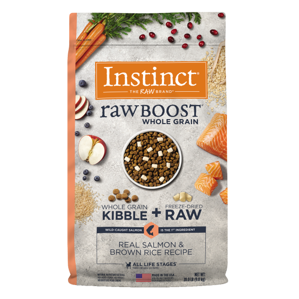 Instinct by Nature's Variety Raw Boost Whole Grain Real Salmon & Brown Rice Dry Dog Food, 20-lb