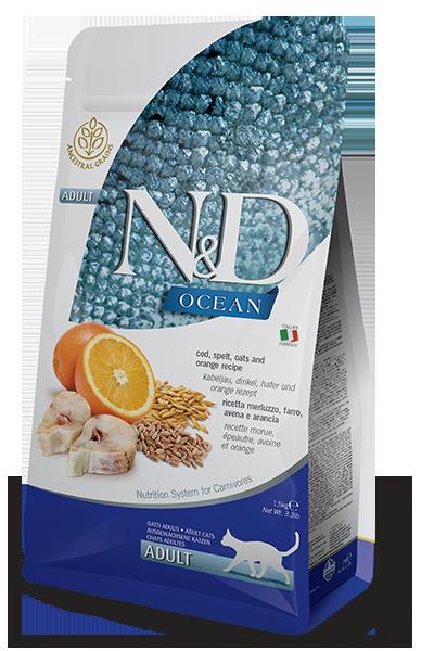 Farmina Ocean Ancestral Grain Cod and Orange Dry Cat Food, 11-lb