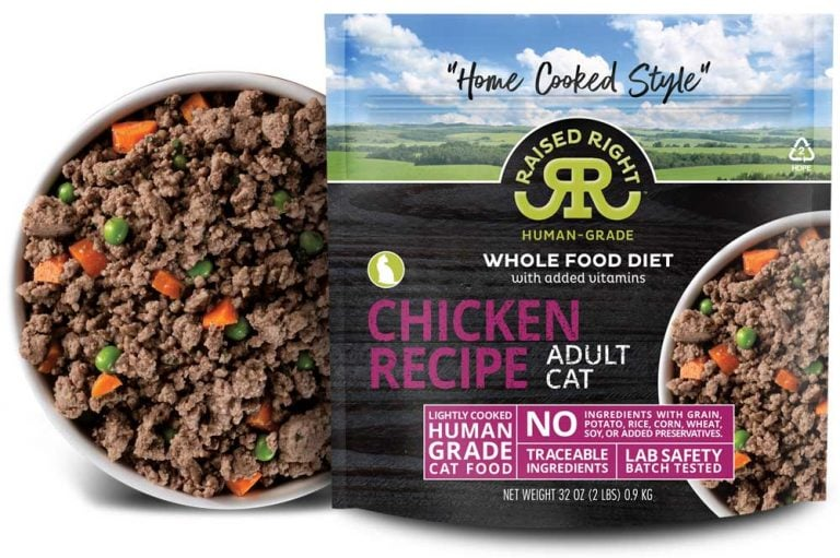 """Raised Right's Chicken Human-Grade Frozen Cat Food, Low Carb """"Home Cooked Style"""" Whole Food Diet, 2-lb bag"""