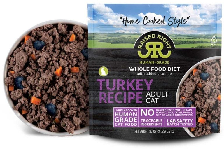 """Raised Right's Turkey Human-Grade Frozen Cat Food, Low Carb """"Home Cooked Style"""" Whole Food Diet, 2-lb bag"""