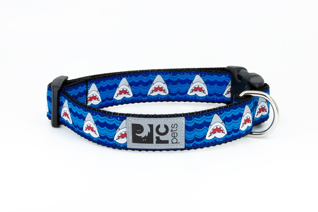 RC Pet Products Clip Dog Collar, Shark Attack, Small