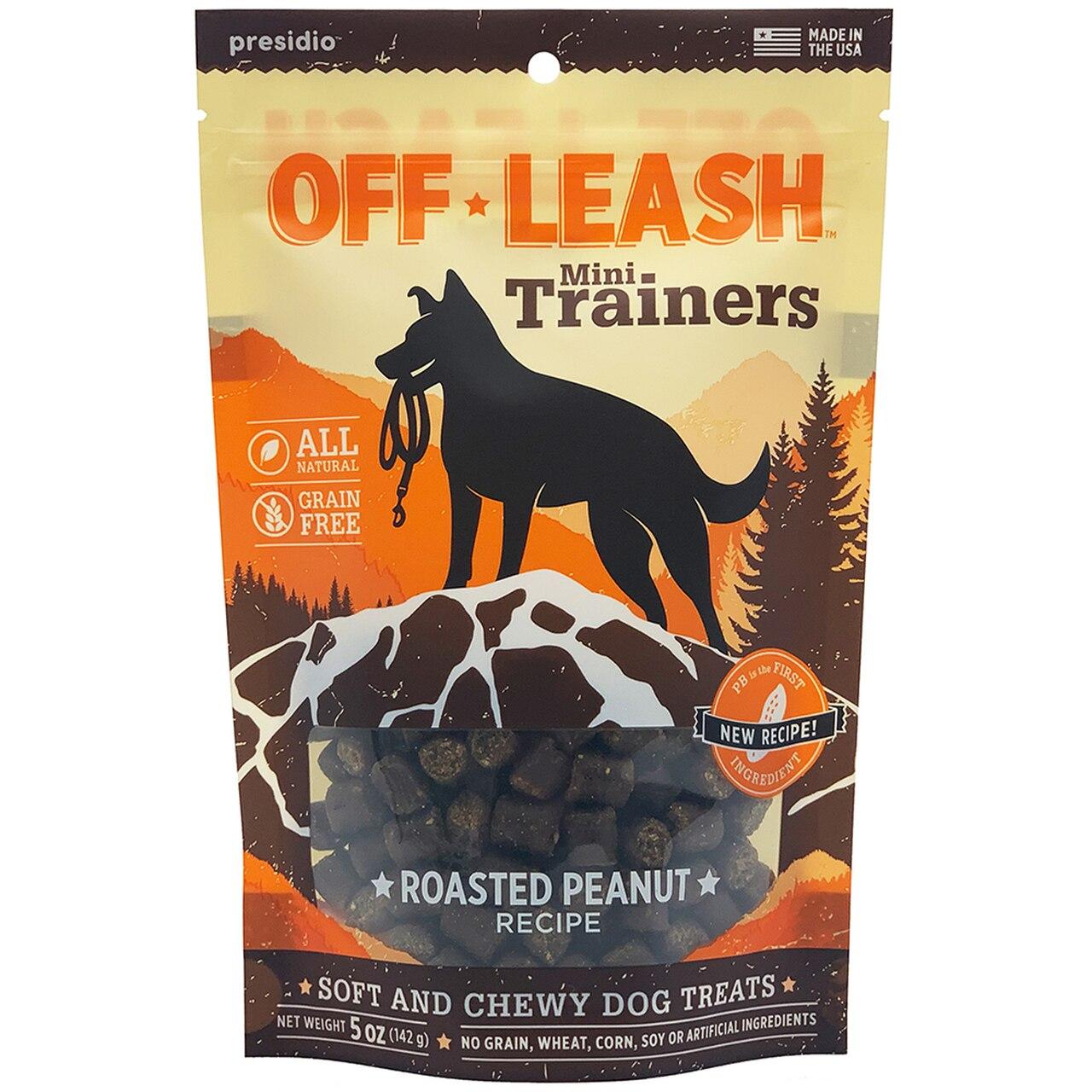 Presidio Off Leash Mini Trainers Roasted Peanut Dog Treats, 5-oz