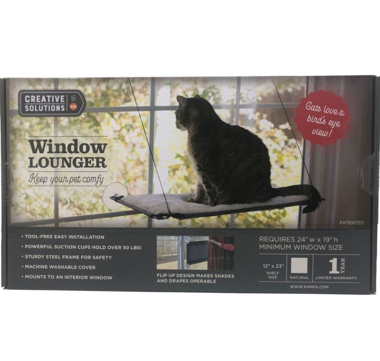 K & H Creative Solutions Natural Window Cat Lounger, 12-in x 23-in