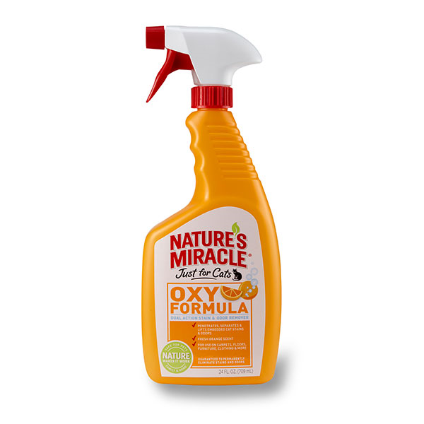 Nature's Miracle Just for Cats Oxy Orange Stain & Odor Remover Cat Spray, 32-oz