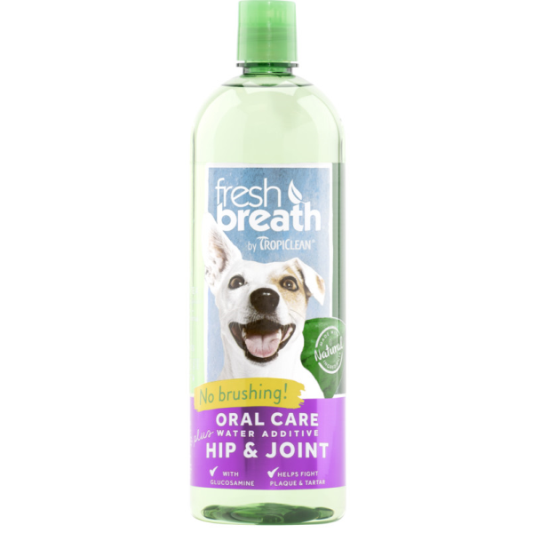 TropiClean Fresh Breath Water Additive+ Hip & Joint for Dogs, 473-mL
