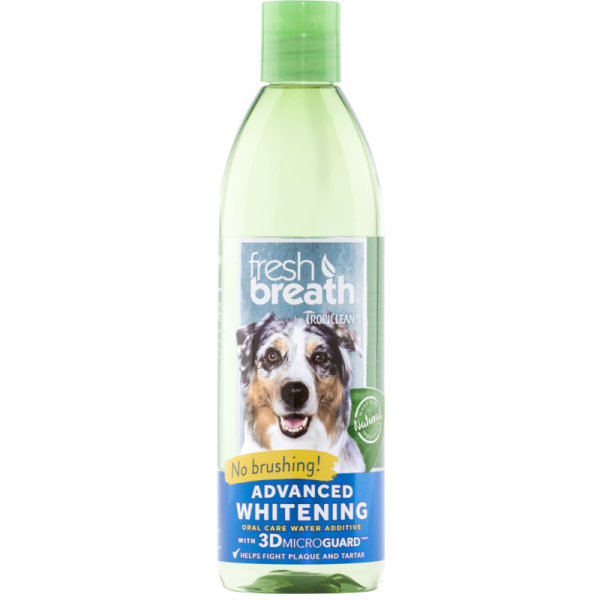 TropiClean Fresh Breath Water Additive Advanced Whitening for Dogs, 473-mL