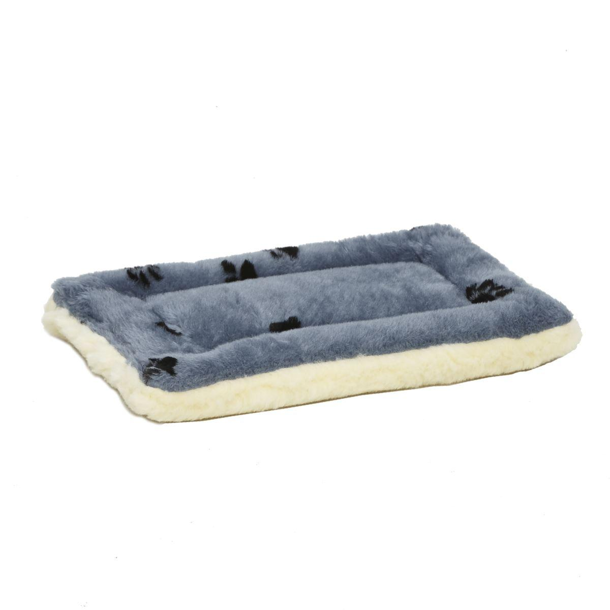 MidWest QuietTime Reversible Fleece Pet Bed, Blue Paw Print, 18-in
