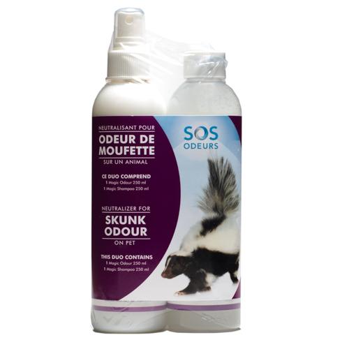 SOS Odours Magic Duo Skunk Neutralizer Pet Spray, 250-mL, 2 pack