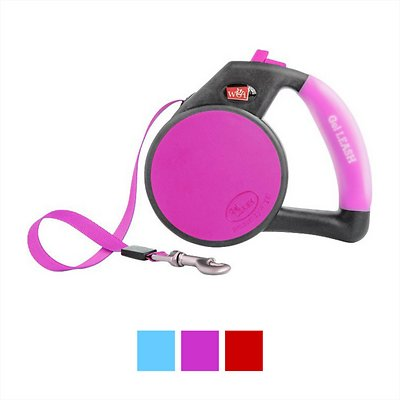 Wigzi Retractable Gel Leash, Pink, Large