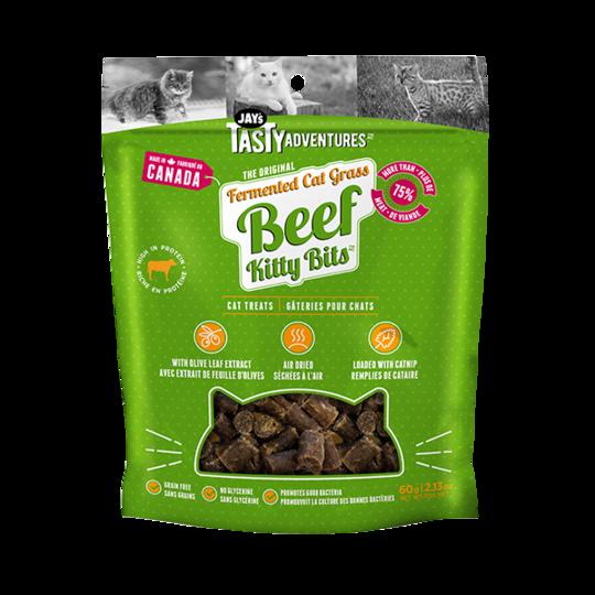 Jay's Tasty Adventures Fermented Grass Beef Kitty Bits Cat Treats, 60-gram
