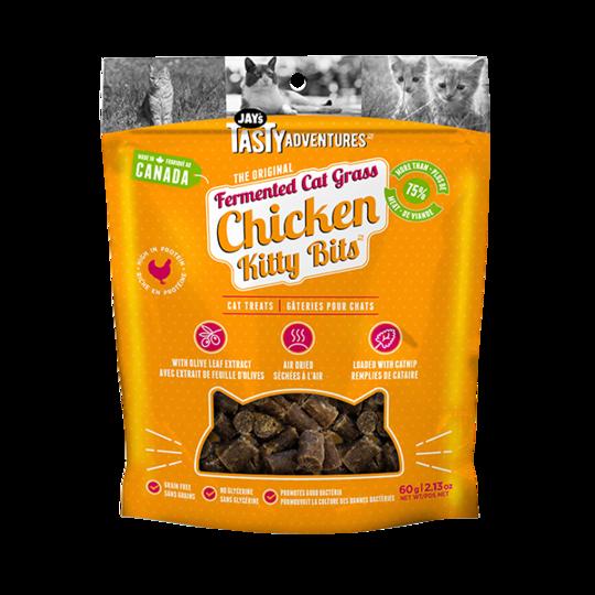 Jay's Tasty Adventures Fermented Grass Chicken Kitty Bits Cat Treats, 60-gram